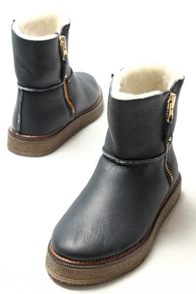 ガイモ ムートンブーツ レディース 靴 GAIMO 876 サイドジップ レザー ムートンブーツ ソール3.0 / ネイビー【送料無料】 ga876-navy 200