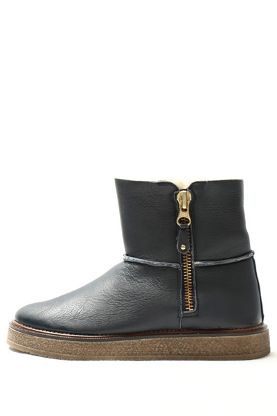 ガイモ ムートンブーツ レディース 靴 GAIMO  876 サイドジップ レザー ムートンブーツ ソール3.0 / ネイビー【返品不可】 ga876-navy 200