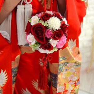和装用ブーケ 紅玉 こうぎょく | ボールブーケ ボール ブーケ 赤 紅 和 和風 和装 和装用 着物 白無垢 色打掛 和婚 結婚式 花嫁 ウェディングブーケ ウエディングブーケ ブライダルブーケ ウェディング ウエディング ブライダル 神前式 造花 アートフラワー