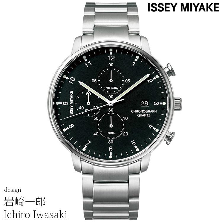 ISSEY MIYAKE イッセイミヤケ 腕時計 ICHIRO IWASAKI 岩崎一郎デザイン C シィ クロノグラフ ブラック/シルバー メタルブレス NYAD001 安心の正規品 代引手数料無料 送料無料 あす楽 即納可能