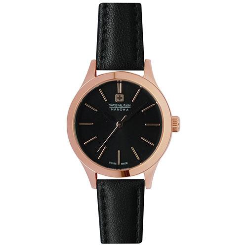スイスミリタリー 腕時計 プリモ 26mm レディース ゴールド/ブラック/ブラックレザー ML422 SWISS MILITARY PRIMO スイス製 安心の正規品 代引手数料無料 送料無料