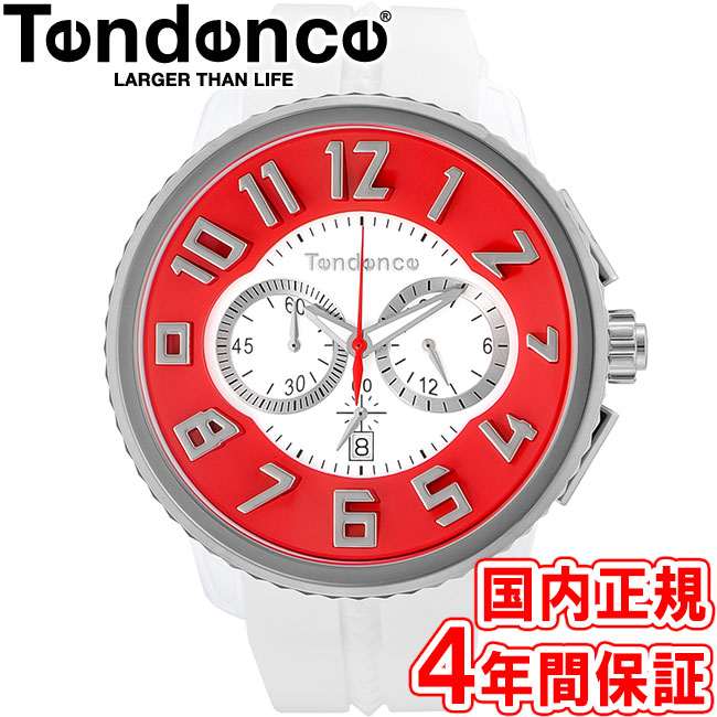 当店のお買い物マラソンはエントリーで更にポイント10倍!19日(土)1:59まで!テンデンス 腕時計 ガリバーラウンド 50mm クロノ メンズ レディース レッド/ホワイト Tendence GULLIVER ROUND TY046015 安心の国内正規品 代引手数料無料 送料無料