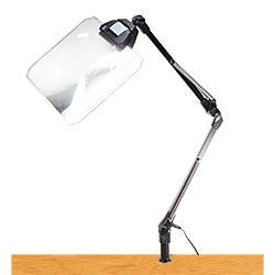 LEDライト付きアームルーペLh7 F角型(1.8倍角型フレネルレンズつき)