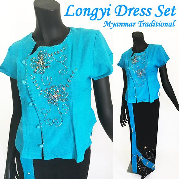 OUTLET★ミャンマー民族衣装☆ロンジー セットスカイブルー×ブラックトップスと巻きスカート2点セット