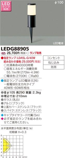 東芝ライテック LEDガーデンライト LEDG88905