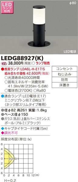 東芝ライテック LEDガーデンライト・門柱灯 LEDG88927K