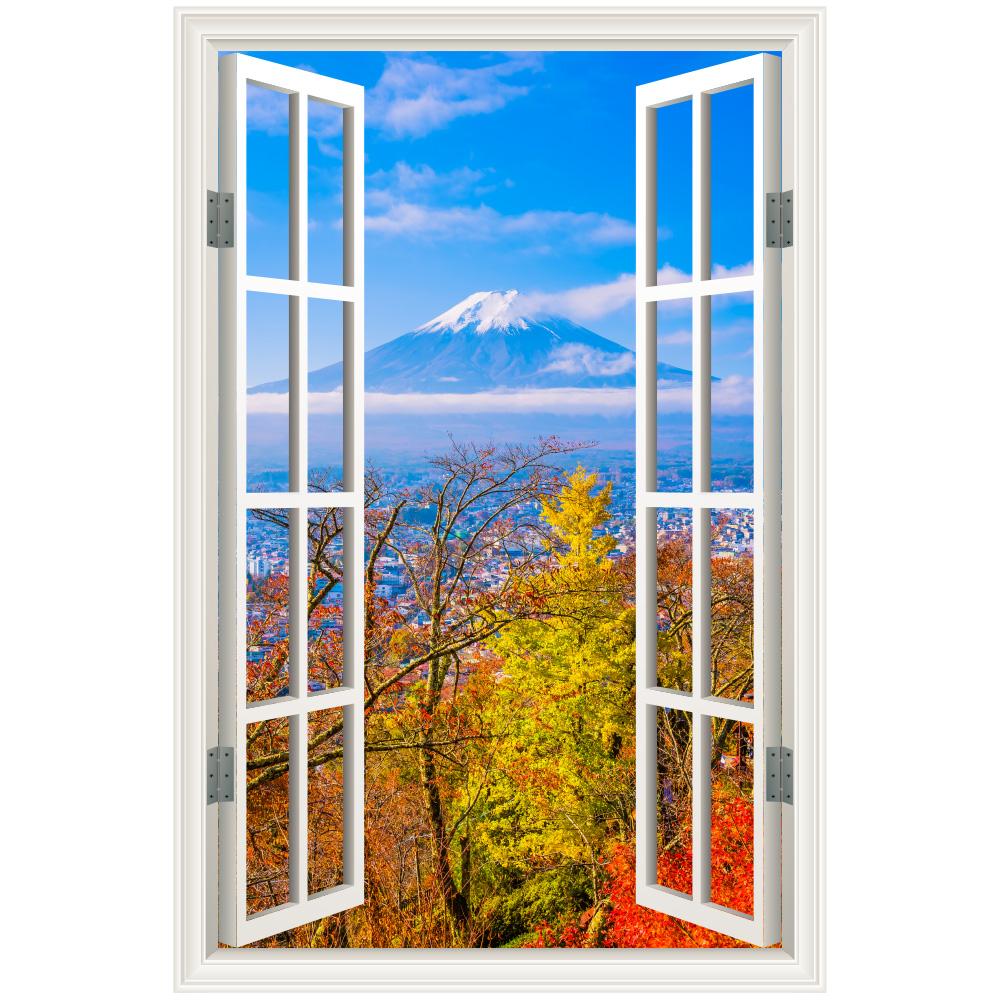 楽天市場 ウォールステッカー 窓枠 富士山 紅葉 日本製 Mu3 壁紙