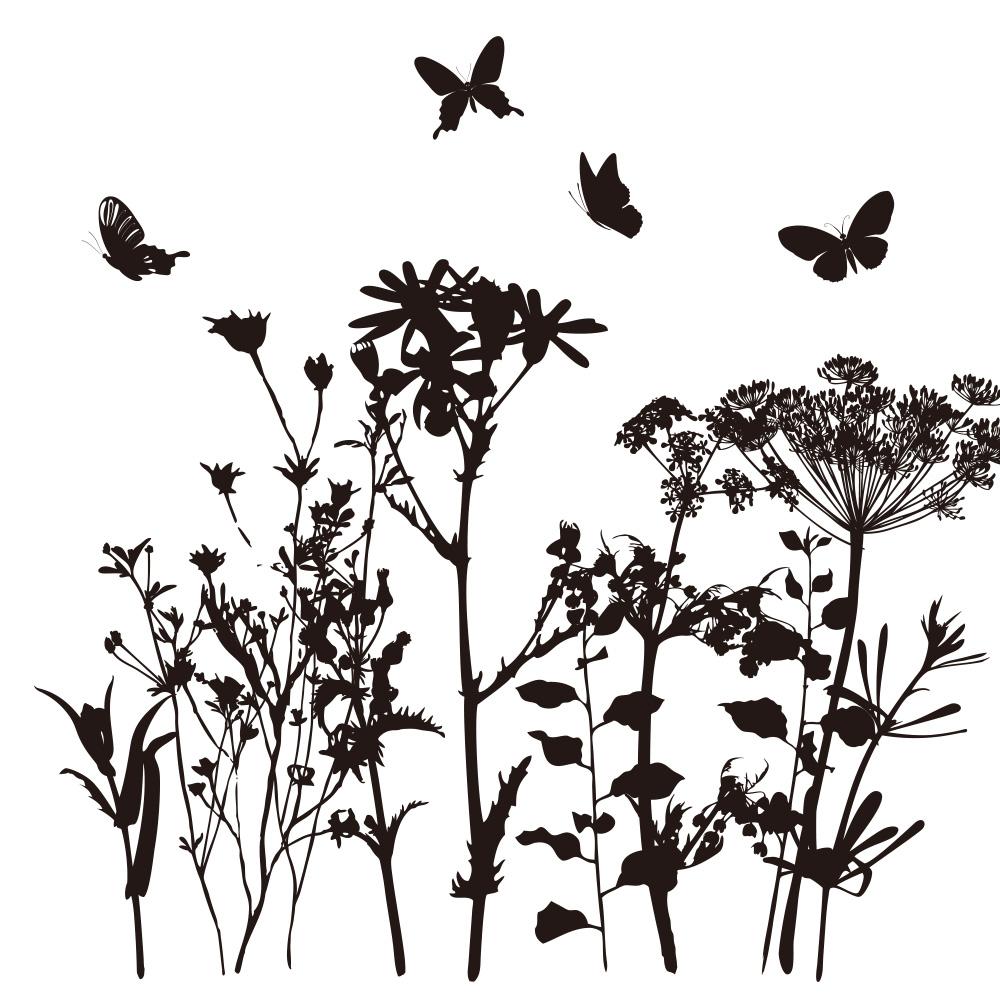 日本製 美品 MU3のウォールステッカー 草花 植物 ウォールステッカー MU3 全20色 モノトーン ブラック トイレ 風呂 リーフ グリーン 壁紙 フラワー シール リメイク ディスカウント