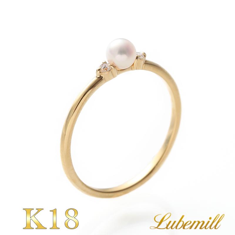 パール リング 指輪 k18 7号 一粒 パールリング カジュアル 18金 18k レディース おしゃれ シンプル 結婚式 イエローゴールド ピンキーリング 華奢 小さい 小粒 ダイヤ