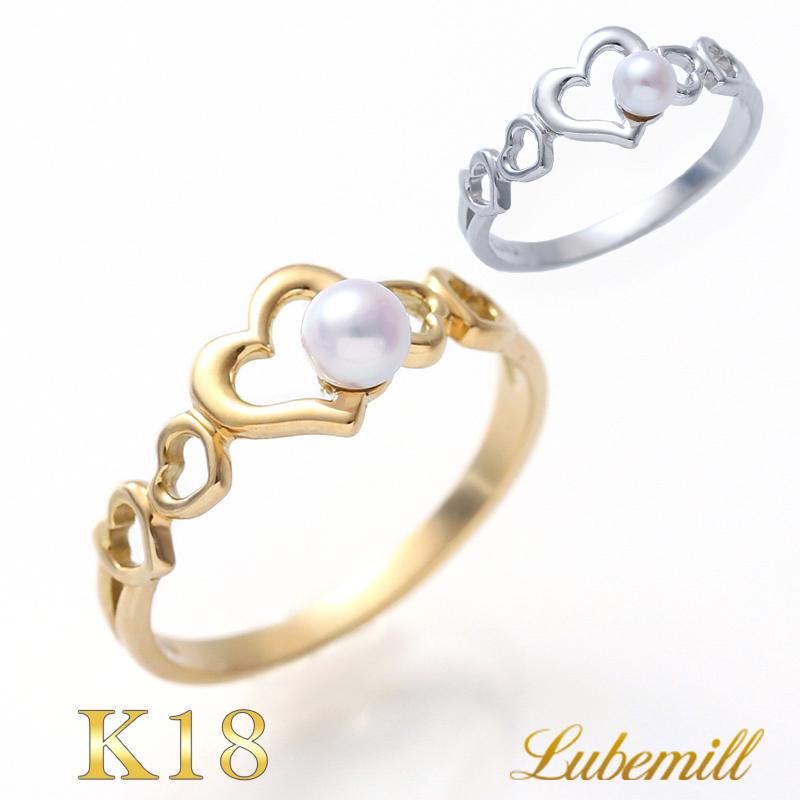 パール リング 指輪 k18 9号 ハート 一粒 パールリング カジュアル 18金 18k レディース おしゃれ シンプル 結婚式 イエローゴールド サイズ 華奢 小さい 小粒 オープンハート