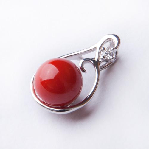 【母の日】【1点もの】「血赤珊瑚ダイヤペンダントトップ」【赤珊瑚 ネックレス】【さんご ペンダント】