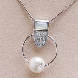 「淡水真珠×白蝶貝ペンダント ホワイト系 11mmUP」 本真珠 【真珠ペンダント】