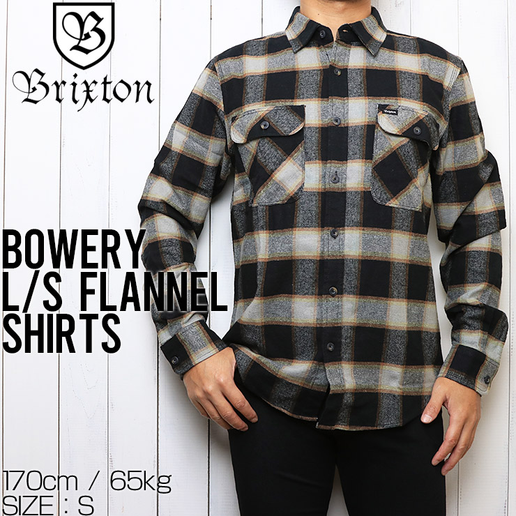 BRIXTON ブリクストン BOWERY L/S FLANNEL SHIRTS フランネルシャツ 01000 BKCRM