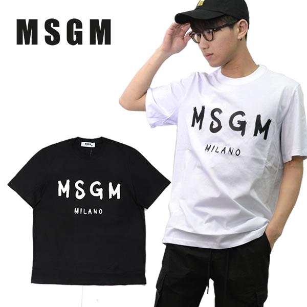 エムエスジーエム/MSGM/ 正規品 T-SHIRT WITH PAINT BRUSHED LOGO Tシャツ 半袖 メンズ トップス BLACK WHITE コットン ロゴ プリント 手書き風 クルーネック シンプル 2640MM97 195298 /あす楽