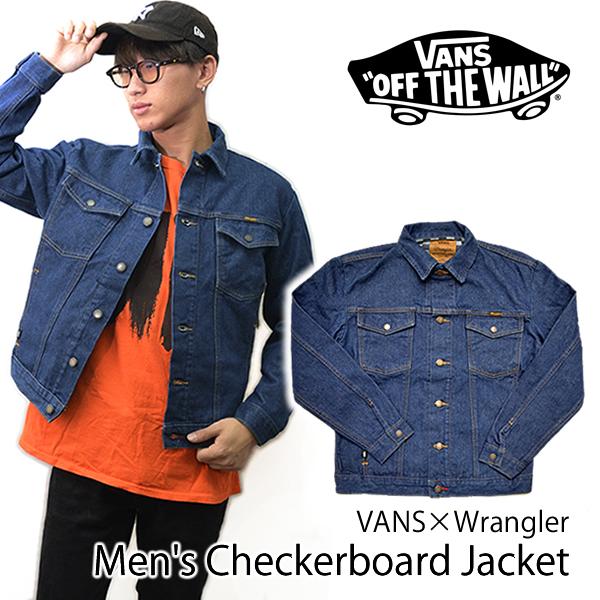 バンズ/VANS/VANSxWrangler Men's Checkerboard Jacket アウター デニム Gジャン ジャケット メンズ チェッカーボード ラングラー インディゴ/あす楽