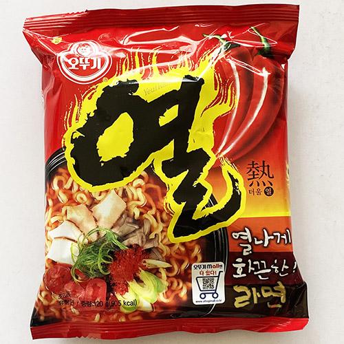 送料無料 オットギ 激辛 熱 ラーメン 120g メーカー在庫限り品 x 10袋 韓国 辛 インスタント 料理 食品 非常食 訳あり 乾麺 らーめん 食材