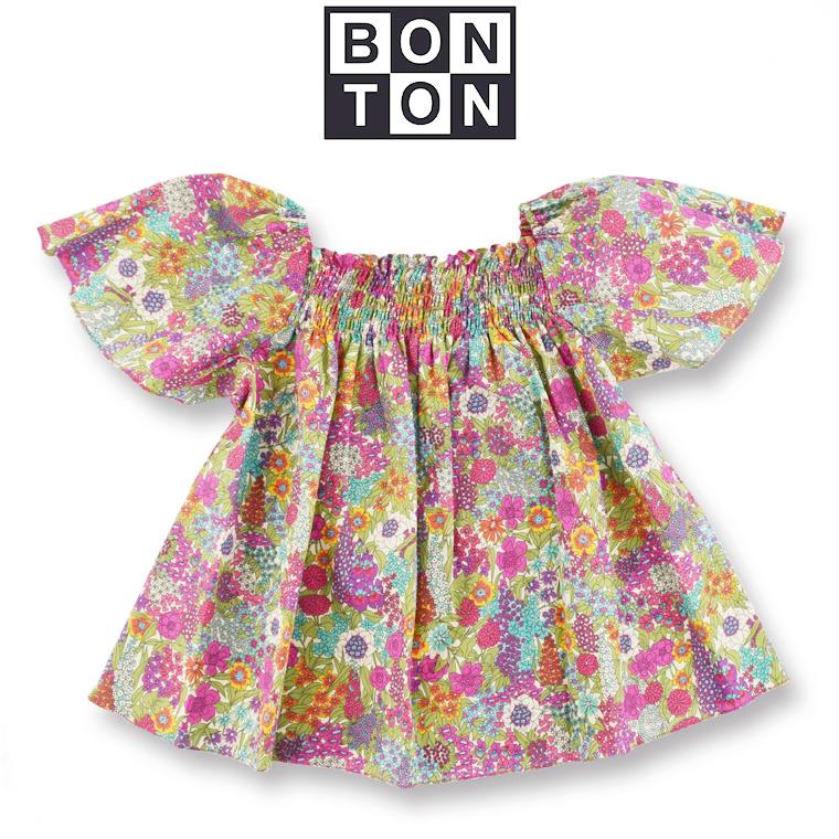 BONTON【ボントン】キッズ スモッキング トップス 8A【8歳】~ 12A【12歳】 BONTON キッズ リバティ ブラウス