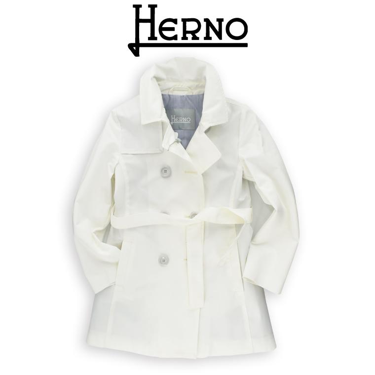 HERNO(ヘルノ) トレンチコート 10A(10歳)12A(12歳)14A(14歳) 春コート コート ホワイト HERNO レディース  相当 HERNO こども コート ホワイト ヘルノ 子供服 ヘルノ キッズ ヘルノ コート
