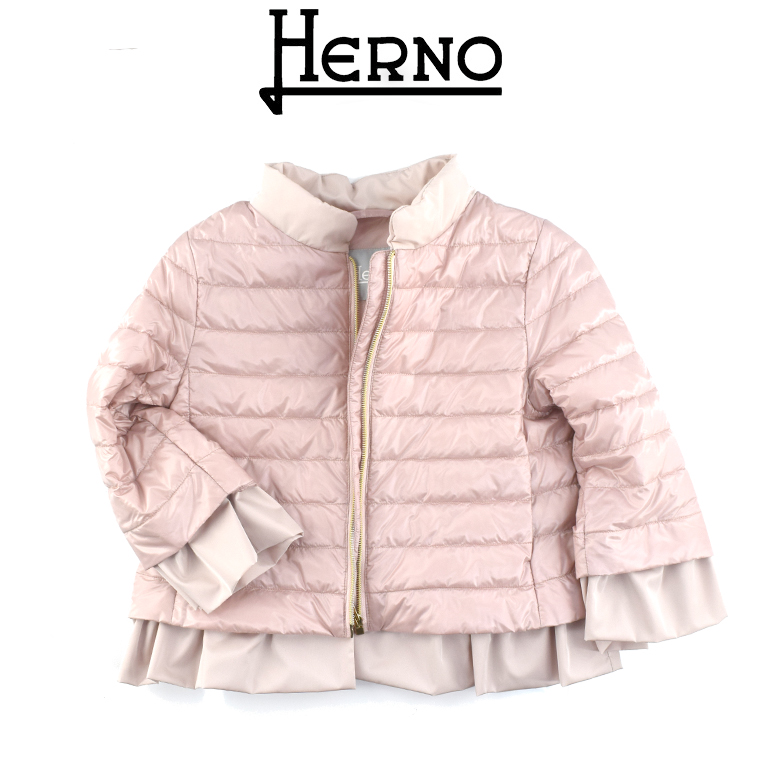【2020SS】HERNO KIDS(ヘルノ キッズ) 7分袖 ノーカラー フリル ダウン ジャケット 10A 【10歳】12A【12歳】14A【14歳】