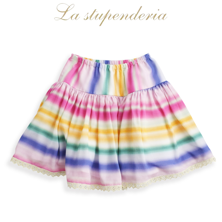 La stupenderia [ラ ストゥペンデリア] フレアー レインボー スカート 10A【10歳】12A【12歳】 イタリア製 子ども服