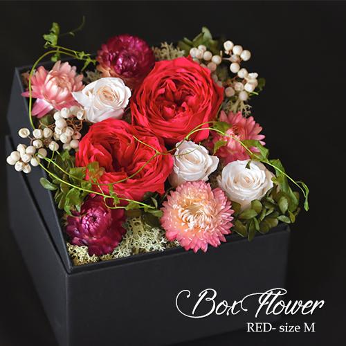 【送料無料】rose collection ローズコレクション  BOXフラワー レッド Mサイズ