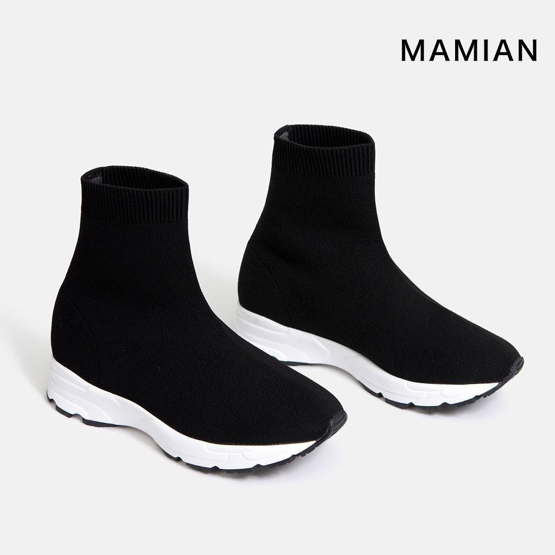 【30%OFF:Winter SALE】スニーカー ソックスブーツ ショート 美脚 足が痛くない(なりにくい)ブーツ 日本製 ブラック 黒 Black 22.5cm~25.0cm ラウンドトゥスニーカーショートブーツ(3802)