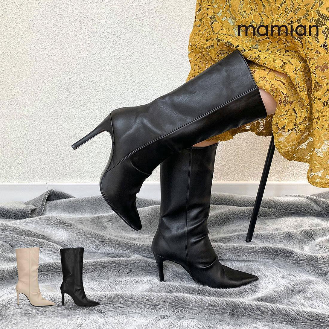 ポインテッドトゥストレッチブーツ 976 :履きやすさと美脚に魅せるマミアンのブーツ:ランダムに施したギャザーがエレガントな9cmのハイヒールハーフ丈ブーツ 美脚ミドル丈ブーツ 足が痛くない なりにくい 9.0cmヒール Lグレージュ black 新作製品、世界最高品質人気! レディース 安売り SML 日本製 2021AW 黒 ポインテッドトゥギャザーブーツ ブラック