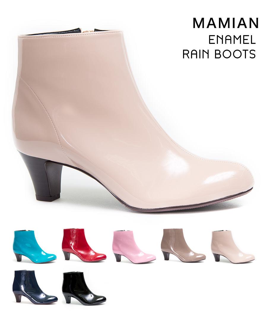 [お買い得アイテム]エナメルレインブーツショート5cmヒール 晴れ雨兼用 足が痛くない(なりにくい) 長靴 ブーツ S・M・L・LL レッド ピンクベージュ ネイビー チャコール ブラック レディース プレーンエナメルレインブーツ(5670)