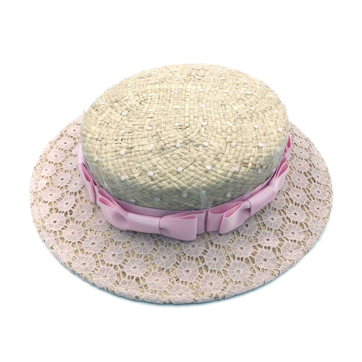 LeonCecilia レオンセシリア おリボン一周レースカンカン帽 (ピンク)