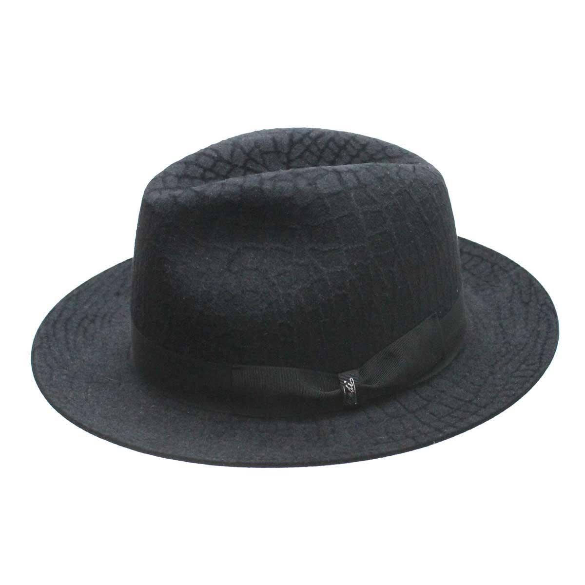 Tesi(テシ) 中折れハット(クロコダイル柄)(REDECKER帽子ブラシ付)