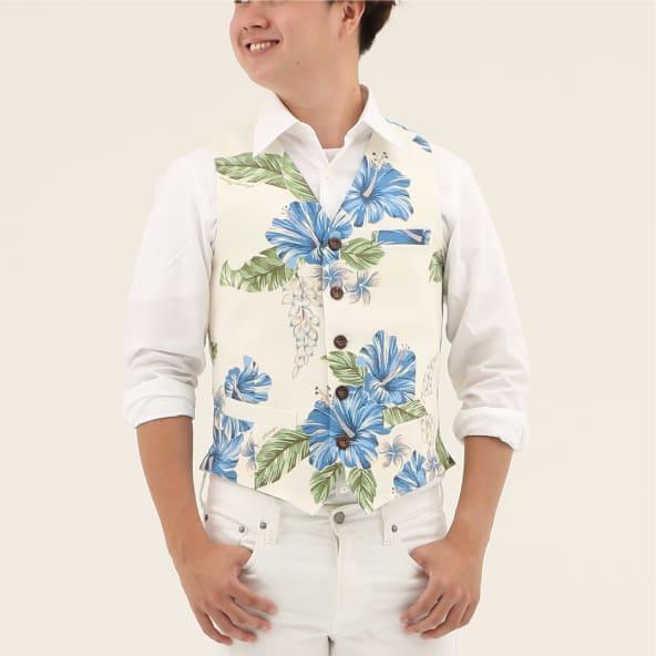 メンズベスト カーニバルハイビー メンズ アロハシャツ かりゆしウェア