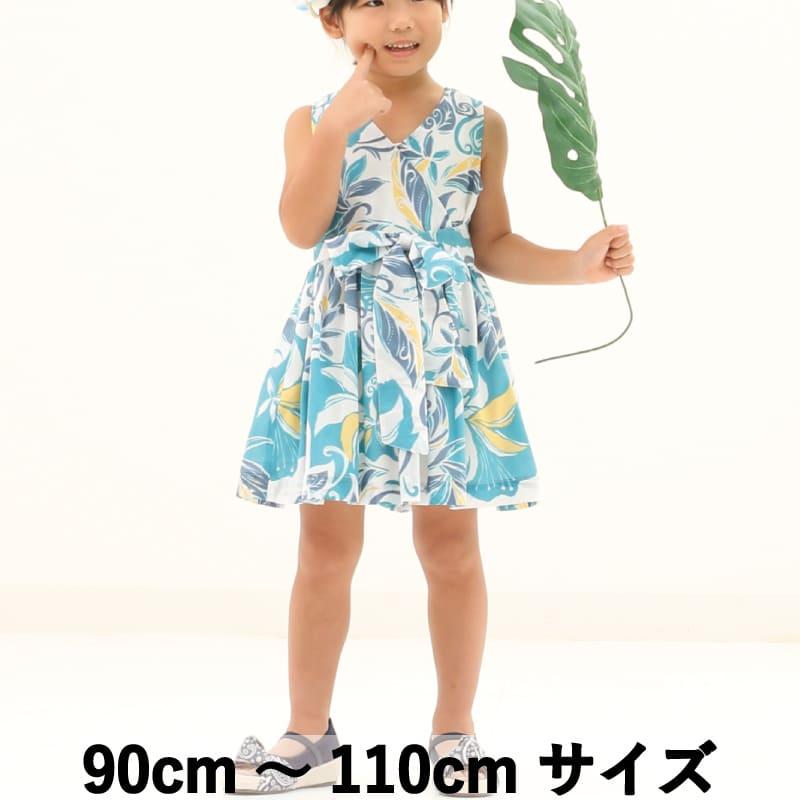 キッズ カシュクールワンピース グラフィカルデイゴ 90cm~110cm アロハシャツ かりゆしウェア