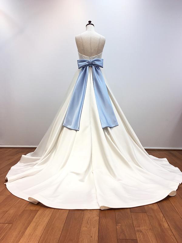 サッシュベルトリボンベルトウェディングブルーウェディングウェディングドレスウエディングドレスアレンジ結婚式ブライダル二次会