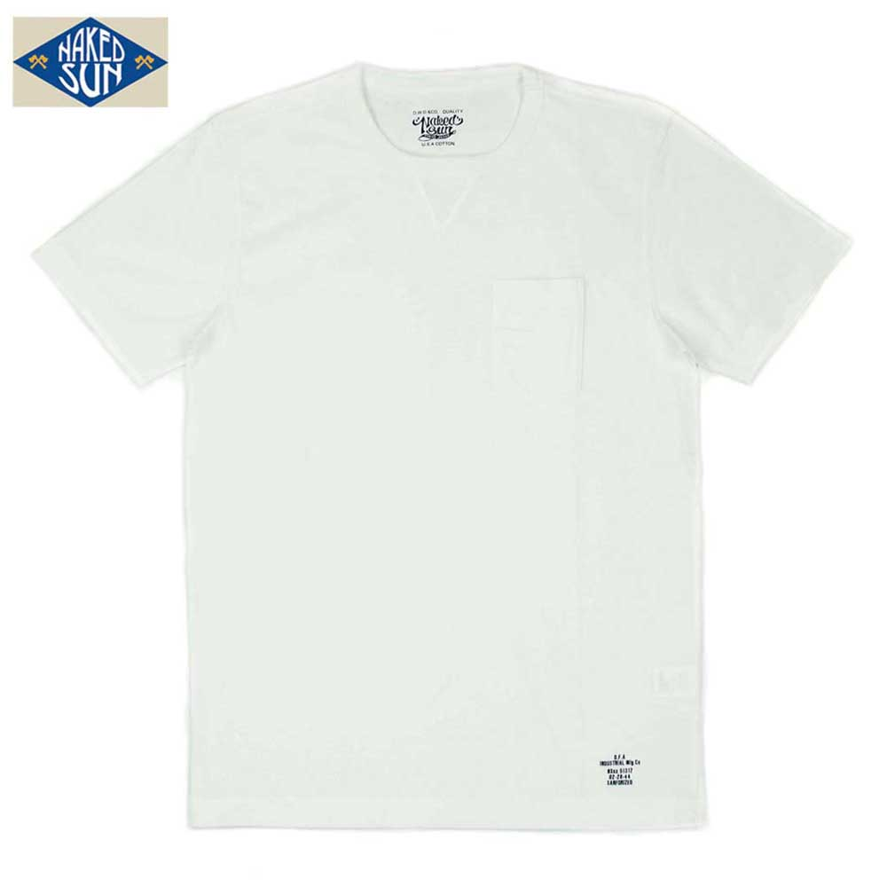 NAKED SUN ネイキッドサン USA COTTON CREW NECK POCKET Tee / WHITE