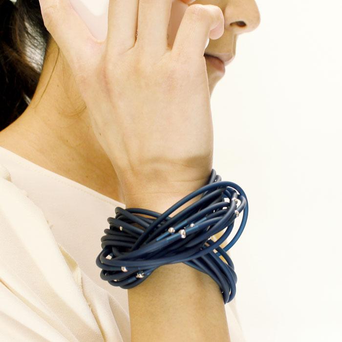 マテリアデザイン ブレスレット イタリア製 高級 【fili】 ブルー ブルー 16blue レディース フォーマル おしゃれ ギフト 送料無料