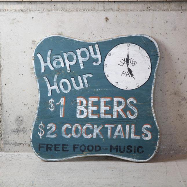 【送料無料】【アメリカンアンティーク】 old bar sign - 古い木製の看板 - 【中古】