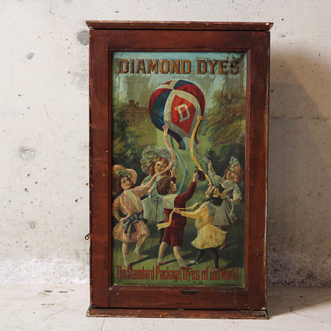 early 1900s diamond dyes product show case -古い ショーケース- 【アメリカンアンティーク】【中古】インテリア ヴィンテージ 店舗什器 アクセサリー 1900年代 棚 送料別 家財便