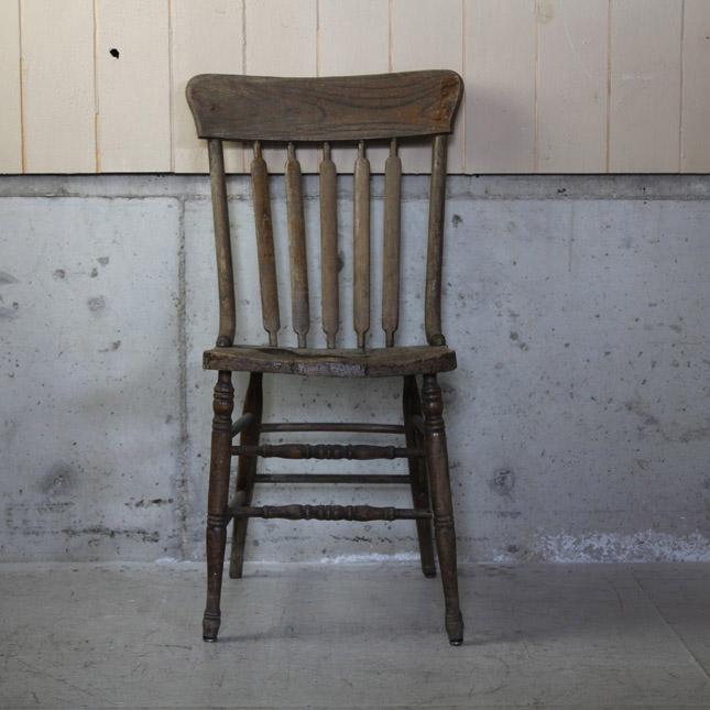 【アメリカンアンティーク】 old wooden chair brown 古い木製の椅子(ブラウン) 【中古】