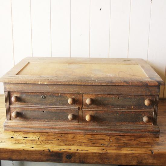 【アメリカンアンティーク】 Antique wood shelf 古い引き出し付きの木製棚 【中古】 家財便 送料別