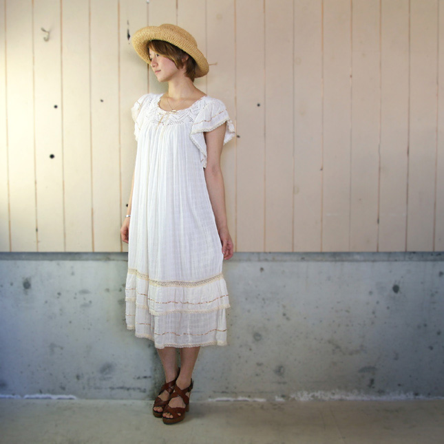 【セール】70'sヴィンテージコットンガーゼフリルレースドレス 【中古】