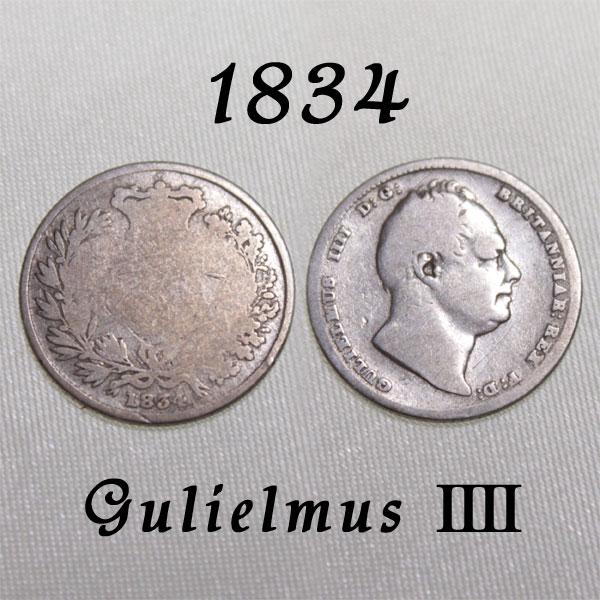マザーグースでサムシングフォーと共に歌われた幸せのコイン 1834年 ウィリアム4世 イギリスの古い通貨 幸福の6ペンスコイン 銀貨 スターリング シルバー 在庫限り ハッピー ラッキー プレゼント ウェディング 花嫁の左の靴に銀の6ペンス シックスペンス 贈答 中古 幸せな結婚の為に 幸運を運ぶアンティーク銀貨