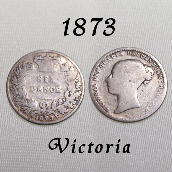 マザーグースでサムシングフォーと共に歌われた幸せのコイン 1873年 ヤングヘッド ヴィクトリア女王 イギリスが最も栄えた時代 古い通貨 幸福の6ペンスコイン スターリング シルバー シックスペンス 中古 幸せな結婚 ラッキー ハッピー プレゼント ウェディング 国内正規総代理店アイテム 花嫁の左の靴に銀の6ペンス 幸運を運ぶアンティーク銀貨 待望
