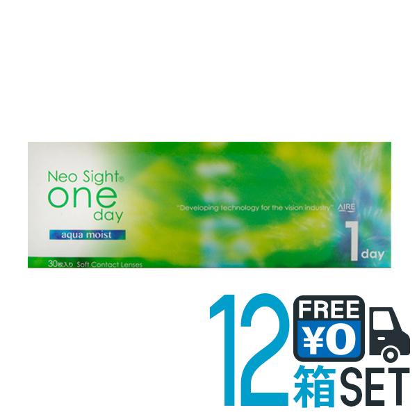 キャッシュレス 5%還元対象 ネオサイト ワンデー アクア モイスト 12箱セット 送料無料 1箱30枚入り アイレ コンタクト 1day PNT!