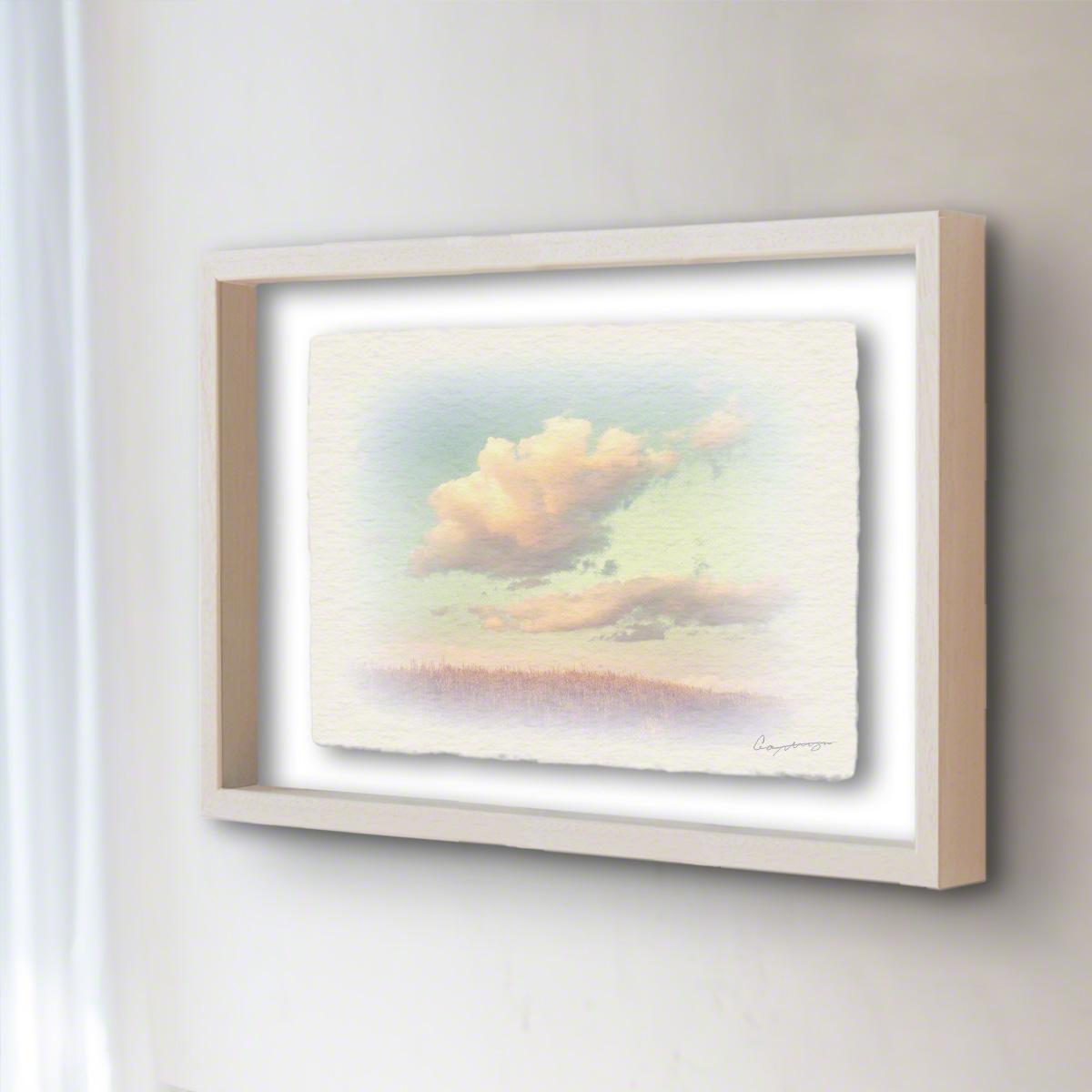 和紙 手作り アートフレーム 「葺原に浮かぶ夕暮れ雲」(32x26cm) 絵画 絵 ポスター 壁掛け モダン アート 和風 オリジナル インテリア 風景画 ランキング おすすめ おしゃれ 人気 キッチン リビング ダイニング 玄関 和室