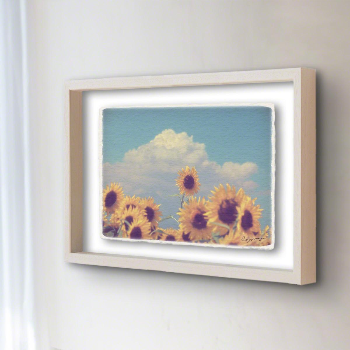和紙 手作り アートフレーム 「入道雲と顔を出したヒマワリの花」(52x42cm) 絵画 絵 ポスター 壁掛け モダン アート 和風 オリジナル インテリア 風景画 ランキング おすすめ おしゃれ 人気 キッチン リビング ダイニング 玄関 和室