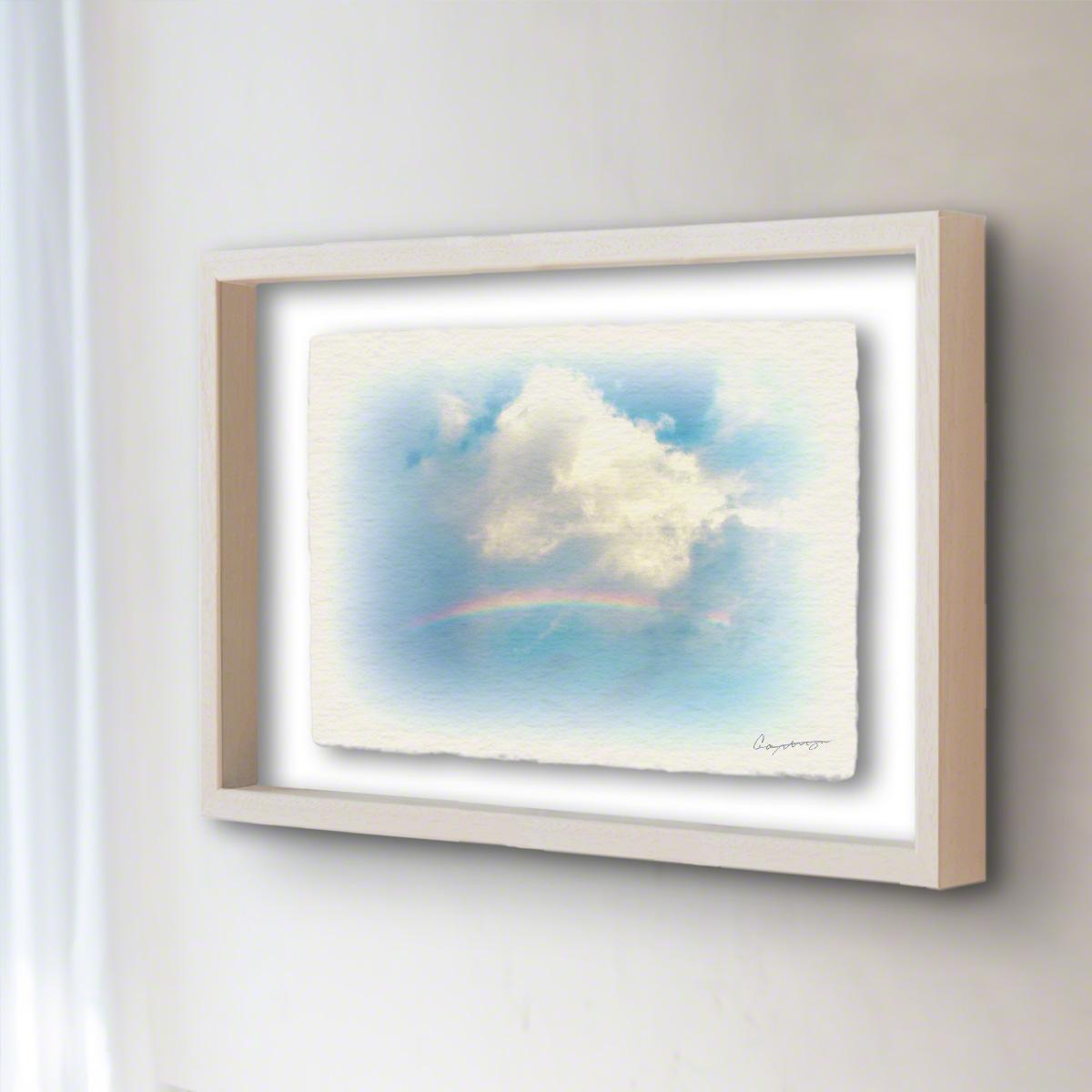 和紙 手作り アートフレーム 「虹と入道雲」(64x52cm) 絵画 絵 ポスター 壁掛け モダン アート 和風 オリジナル インテリア 風景画 ランキング おすすめ おしゃれ 人気 キッチン リビング ダイニング 玄関 和室