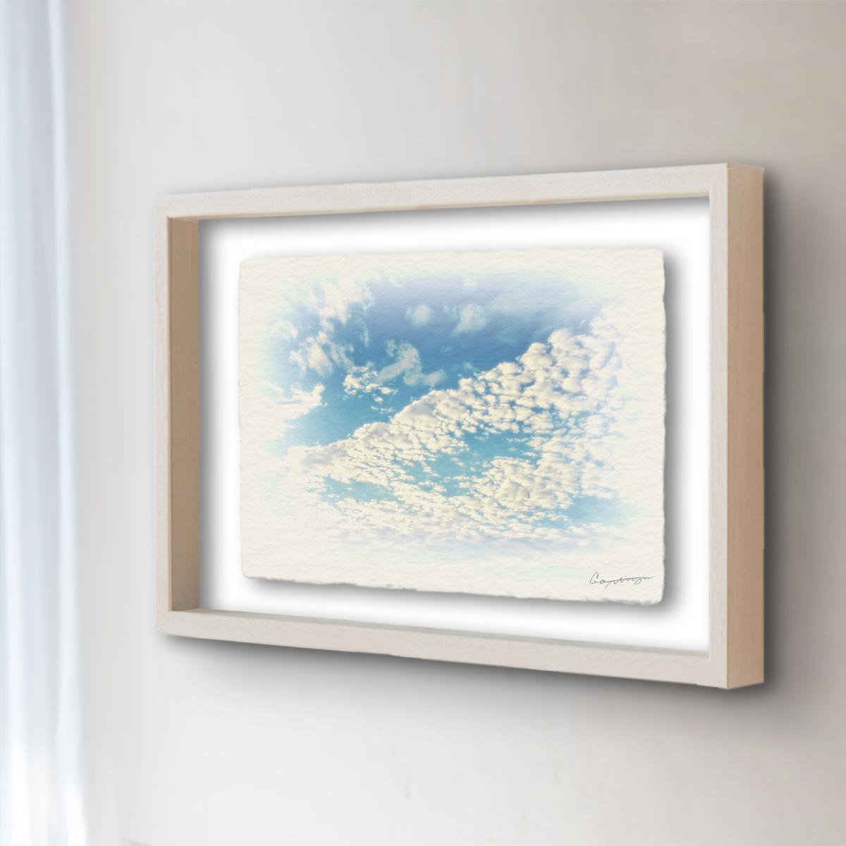 和紙 手作り アートフレーム 「青空に輝くうろこ雲」(32x26cm) 絵画 絵 ポスター 壁掛け モダン アート 和風 オリジナル インテリア 風景画 ランキング おすすめ おしゃれ 人気 キッチン リビング ダイニング 玄関 和室
