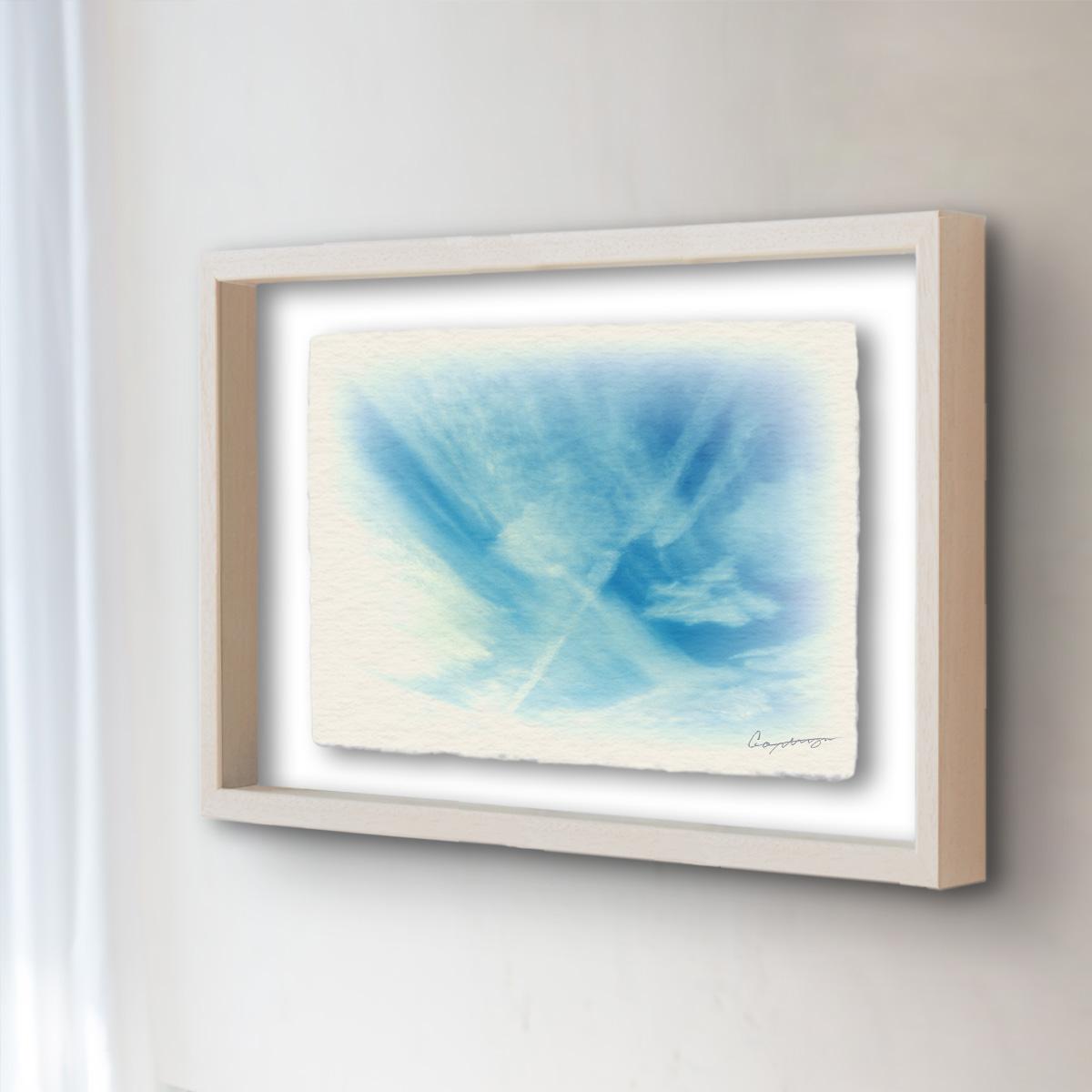 和紙 手作り アートフレーム 「筋雲と飛行機雲」(32x26cm) 絵画 絵 ポスター 壁掛け モダン アート 和風 オリジナル インテリア 風景画 ランキング おすすめ おしゃれ 人気 キッチン リビング ダイニング 玄関 和室