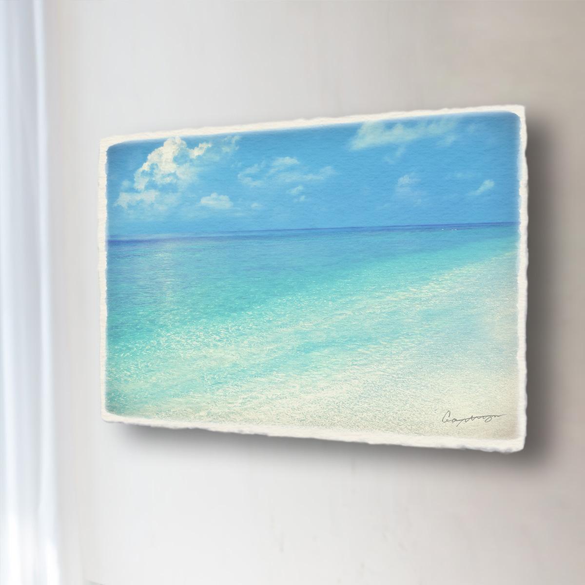 和紙 手作り アートパネル 「珊瑚礁の波打際」(81x54cm) 絵画 絵 ポスター 壁掛け モダン アート 和風 オリジナル インテリア 風景画 ランキング おすすめ おしゃれ 人気 キッチン リビング ダイニング 玄関 和室