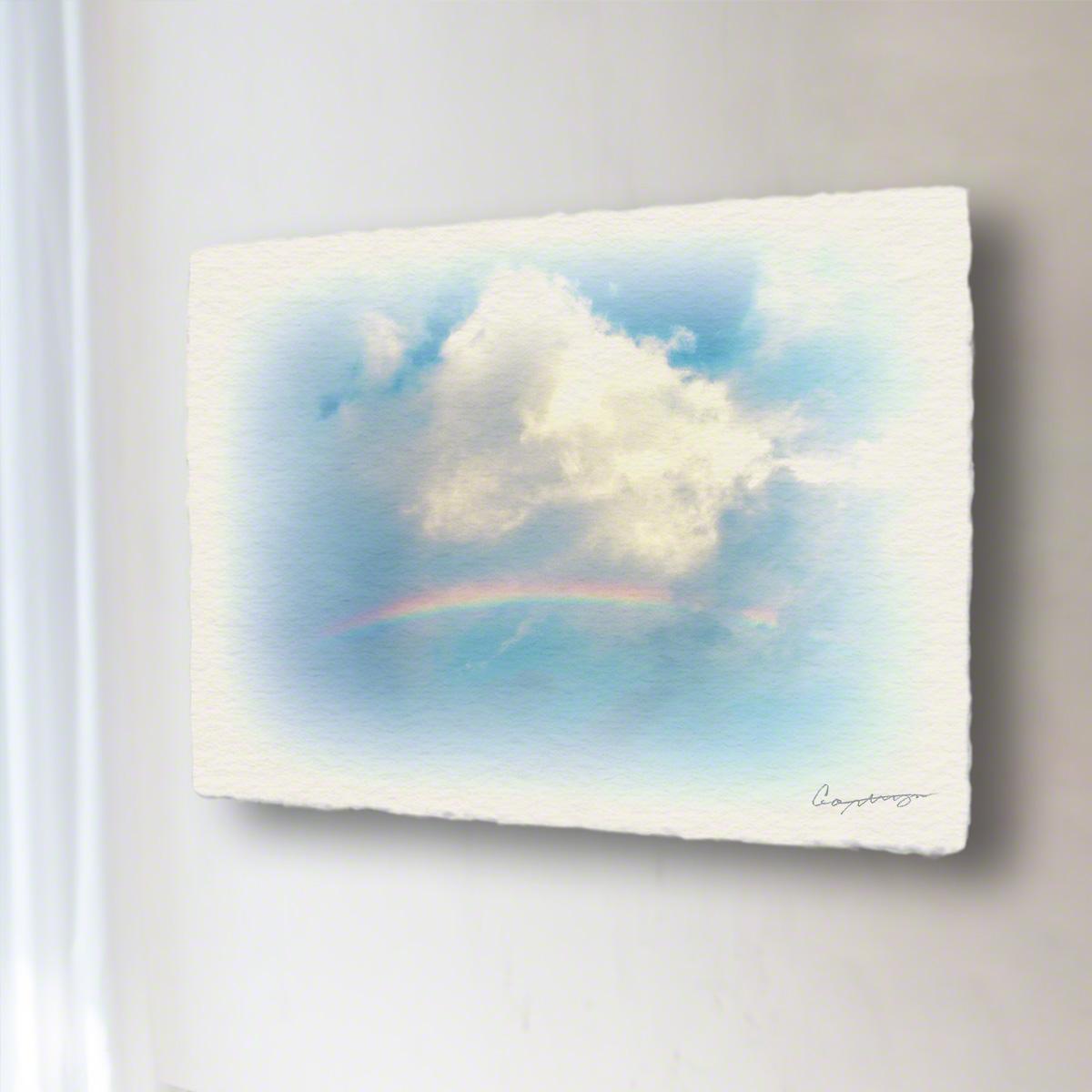 和紙 手作り アートパネル 「虹と入道雲」(64x48cm) 絵画 絵 ポスター 壁掛け モダン アート 和風 オリジナル インテリア 風景画 ランキング おすすめ おしゃれ 人気 キッチン リビング ダイニング 玄関 和室